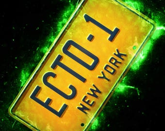 Ghostbusters Ecto 1 New York 1984 Licence Plate A4 A3 A2 Poster Print
