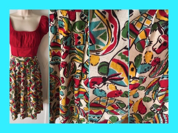 1940s Amazing Mexican Novelty Print Cotton Skirt Sombreros Bulls Blankets Cactus Maracas-XS