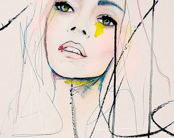 Mending Rapture - Fashion Illustration Art Print, Portrait, Mixed Media Painting by Leigh Viner