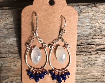 White Moonstone - Navy Blue Dyed Jade - Hand Formed Sterling Wire - Sterling Chain & Wire - Copper Wire -Handcrafted Chandelier Earrings