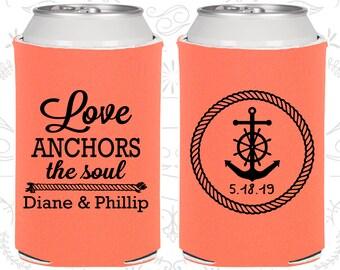 Love Anchor the Soul, Unique Wedding Favors, Anchor Wedding Favors, Nautical Wedding Favors, Beer Holders (C05)