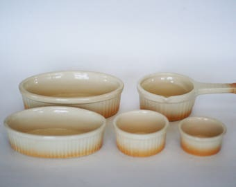 vintage ombre ramikens made in france set of five