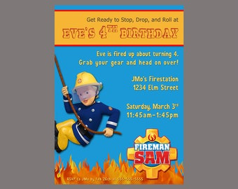 Girls Fireman Sam Birthday Party Invitation