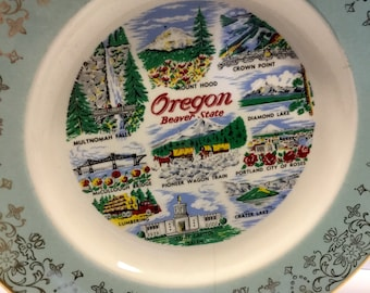 Vintage State of Oregon Beaver Plate Wall Hanging