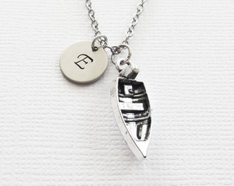 Boat Initial Necklace 3D Charm Rowboat Ship Boating Nautical Ocean Sea Harbor Nautical Silver Necklace Personalized Monogram Hand Stamped