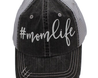 Mom Life White Grey Distressed Hat #MomLife