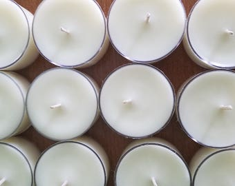 Set Of 24 Unscented Soy Tea Light Candles