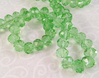 20 Crystal beads faceted, transparent Aqua, 6 X 8 mm Green