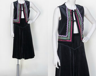 Vintage Gaucho Pants and Vest Set /// 1970s Black Velvet Set Medium