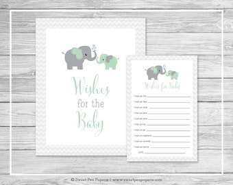 Elephant Baby Shower Wishes for Baby Cards - Printable Baby Shower Wishes for Baby Cards - Green and Gray Elephant Baby Shower - SP104