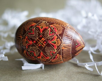 Vintage Easter Egg, Russian Pysanky, Hand Decorated Wood, Intricate Design, Spring Decor, Easter Decoration, Ukranian