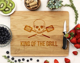 King of the Grill, Custom Cutting Board, Cutting Board,  Engraved Board, Father's Day Dad Chef Cook BBQ White Oak Wood --21156-CUTB-004