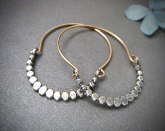 beaded minimalist ... mixed metal hoops