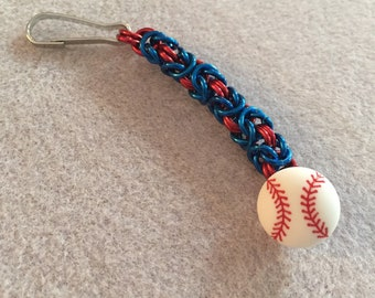 Chainmaille baseball zipper pull with team colors