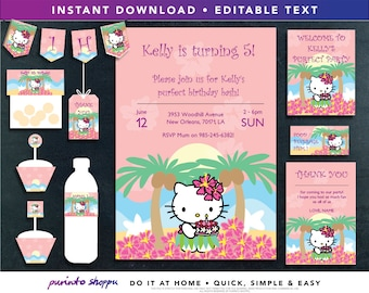 Aloha Hello Kitty Luau Birthday Party Printables / Invitation - INSTANT DOWNLOAD - Fully EDITABLE text