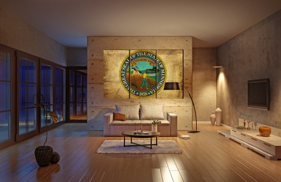 LARGE 3 panels / boards wrapped stretched State of Minnesota seal flag Land of 10,000 Lake canvas wall art Giclee Art fine art Repro