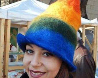 Felted rainbow hat