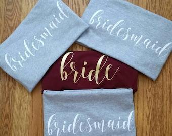 Bridal Party Shirts, Bride Shirt, Bridesmaid shirt, Maid of Honor shirt, Mother of the bride shirt, Bachelotette Party, Wedding shirts