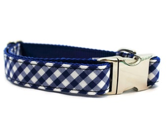 Blue Gingham Dog Collar - Gingham  Dog Collar - Boy Dog Collar - Girl Dog Collar - Male Dog Collar - Plaid Dog Collar