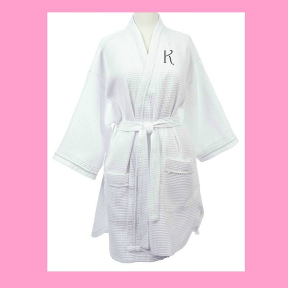 Waffle Weave Short Robe in White