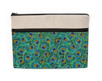 "iPad Pro 10.5"" Cover, MacBook Pro 13"" Sleeve, Custom Laptop Zipper Case, Dell Laptop Sleeve, Padded Laptop Bag - green gold peacock feathers"