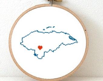 HONDURAS map modern cross stitch pattern. Honduras with Tegucigalpa. Home is where the heart is. Tegucigalpa map. Latin wedding gifts