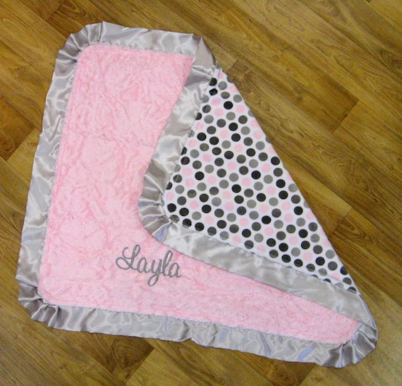 Monogrammed Blanket in Crushed Plush PInk and Polka Dot Minky with Satin Ruffles