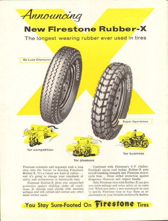 1958 Firestone Rubber-X Motorcycle Tires Ad #5807amot02