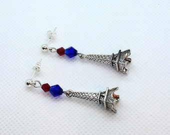 Eiffel Tower Post Earrings, red blue silver hypo allergenic earrings paris france bastille day gift for her