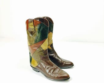 Cool vintage boots in patchwork look, by Donna Carolina, Gr. 41
