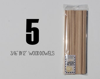 """5 -  3/16"""" by 12"""" Birch Wooden Dowels Perfect for Photo Booth Prop Assembly"""
