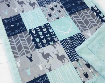 Little One Deer Baby Blanket - Wild and Free - Baby Boy Quilt - Navy and Mint