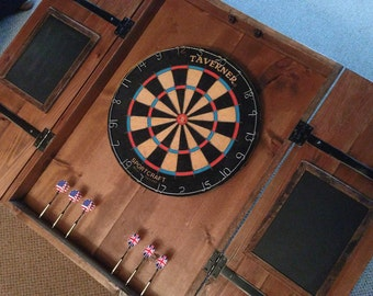 Rustic Dartboard Cabinet With Custom Hand Painted Graphics