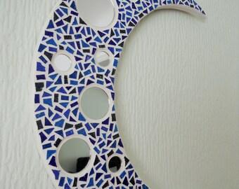 Blue Mosaic Moon Mirror