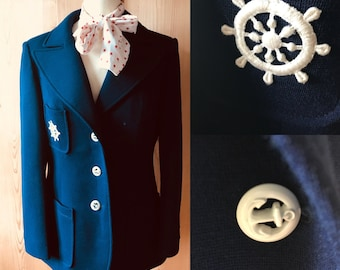 1960s nautical blazer, French navy, sailor jacket
