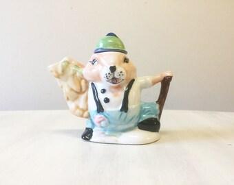 Novelty teapot, miniature teapot, collectible teapot, china tea pot, squirrel collectible, ornamental teapot, ceramic teapot, china teapot