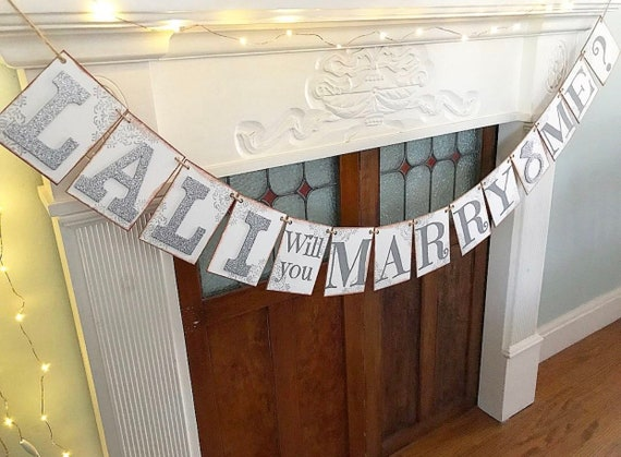 Marry Me Banner Rustic Marriage Proposal Banner