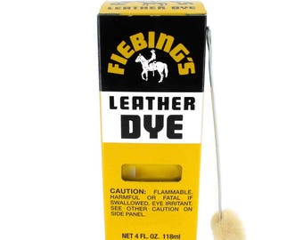 Fiebing's Solvent Based Leather Dye w Applicator 28 Colors 4 oz Bottle Fiebings