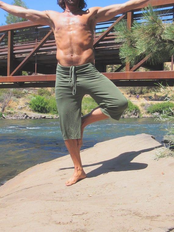 Men's yoga wide leg goucho yoga surf lounge beach resort shorts or capris with drawstring 8VKpsBClT5