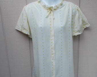 60s Vintage Yellow Floral Semi-Sheer Cotton Nightie / Babydoll Housedress / House dress // sz Med