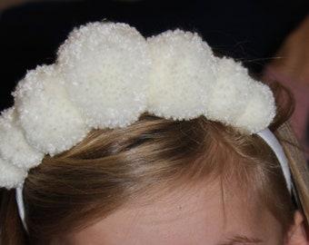 WHITE POMPOM crown headband