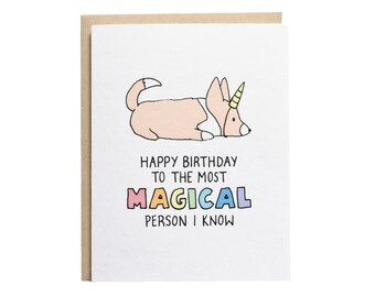 Happy Birthday Unicorn Card, Dog Birthday Card, Corgi Birthday Card, Corgi Card, Dog Unicorn Card, Best Friend, Cute Birthday Card