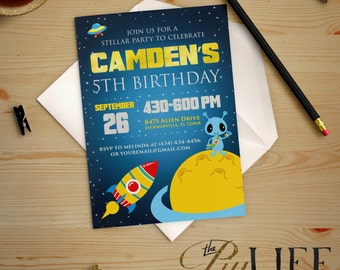 Shoot for the Stars little Alien Birthday Invitation Printable DIY No. I191