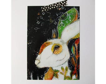 Bunny Rabbit glossy oversized postcard poster print painting art print A5 size - Re-Birth