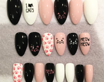 Cat Lover Fake Nails * Faux Nails * Glue On Nails * Black Nails * Pink Nails * Cats * Round Tip Stiletto * Gloss Nails