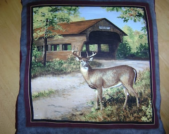 Covered Bridge with Deer Quillow (Blanket & Pillow)