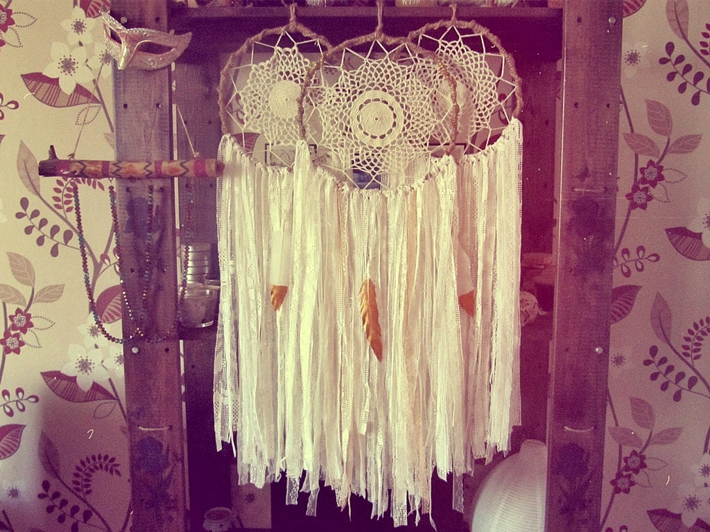 White and Gold Dreamcatcher Boho Bedroom Decor Bohemian