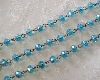 """One Meter 39.5"""" Faceted Caribbean Blue Rondelle Glass 6mm x 8mm Beaded Rosary Link Chain Antique Bronze 989"""