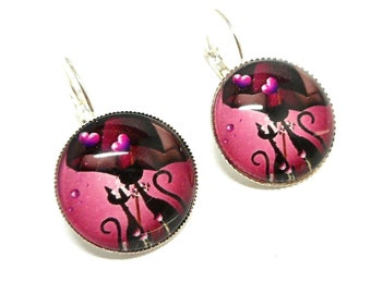 Stud Earrings, black cat with his umbrella on a pink background