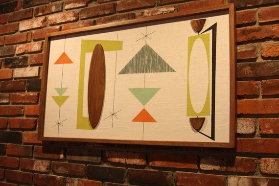 Mid Century Modern Witco Abstract Wall Art Sculpture Painting